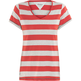 Bergans Bastøy T-shirt Femme, grey melange/pale red striped